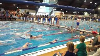 Warm up before Division swimming competition